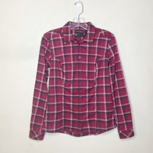 Mammoth Plaid Button Up Long Sleeve Top Pink